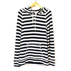 Black & White J. Crew Striped Hoodie M